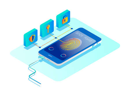 Personal data protection concept. Online security concept. Isometric