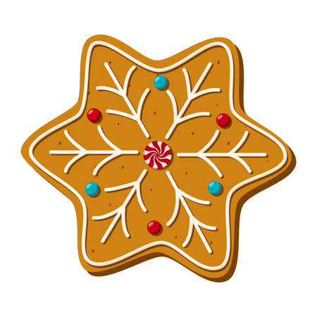 Christmas gingerbread star. Homemade sweets. Vector illustration