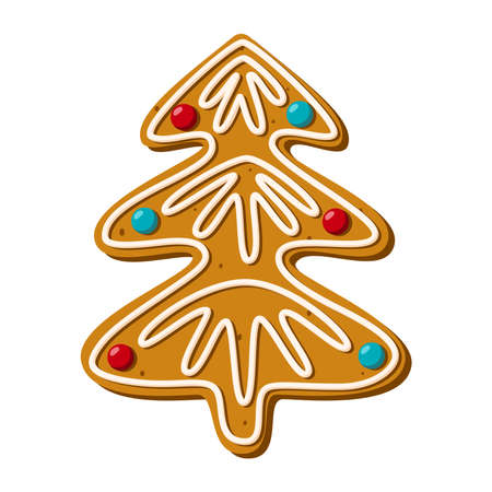 Gingerbread christmas tree. Homemade sweets. Vector illustration Ilustracja