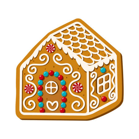 Christmas gingerbread house. Homemade sweets. Vector illustration