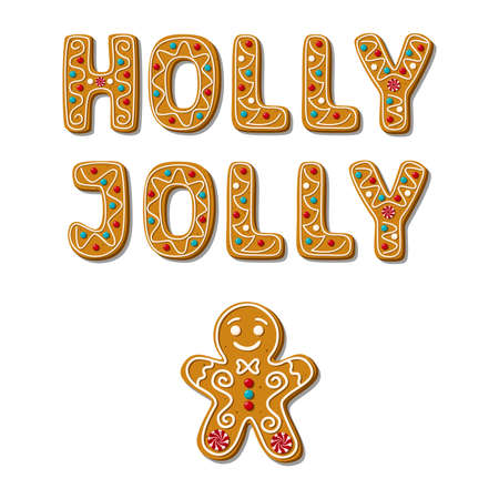 Christmas Gingerbread man and Holly Jolly phrase. Homemade cookies.