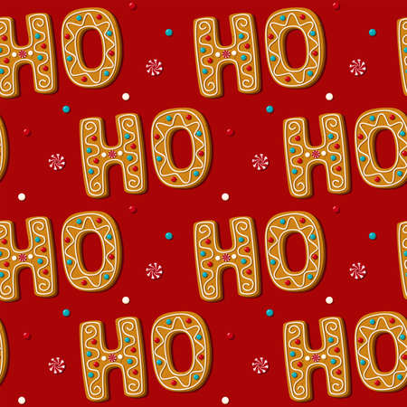Seamless gingerbread HO phrase cookie. Pattern, red background