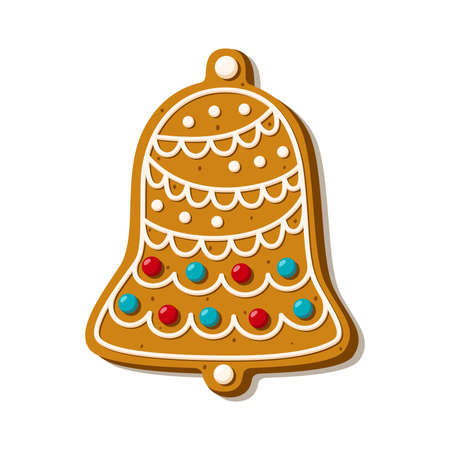 Christmas Gingerbread bell. Homemade cookies. Vector illustration Stock Illustratie