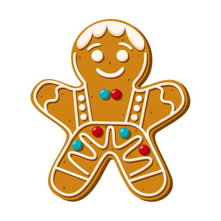 Christmas cookies in the shape of a gingerbread man. Festive homemade sweets on a white background. Vector illustration Vector Illustration