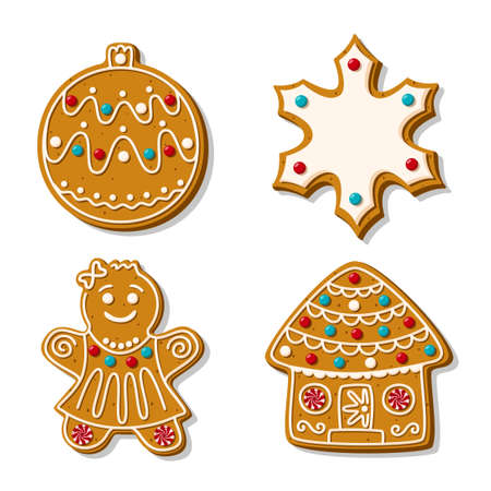 A set of Christmas gingerbread cookies. Vector illustration of homemade baking. Snowflake, Christmas tree toy Gingerbread man and house in sugar glaze isolated on white background. Cartoon style Vecteurs
