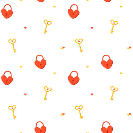 Seamless pattern with a red heart lock and a gold key on a white background. Romantic background for Valentines Day cards. Cute vector illustration