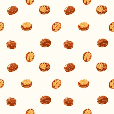 Seamless pattern with walnuts and nutshells in cartoon style. Background with natural vegetarian and vegan foods on a white background. Vector illustration