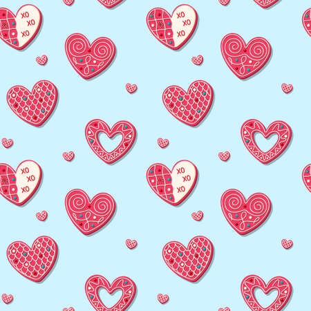 Valentines day sweet cookies in the shape of heart seamless pattern. Romantic Pink baked sweets. Vector illustration