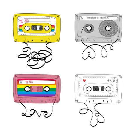 Set of Retro tape cassettes. Vintage mixtape. 1980s and 90s pop songs tapes and stereo music cassettes. Vector illustration 向量圖像