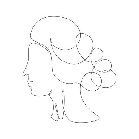 Continuous one line drawing of a womans face. Elegant minimalist portrait of Aphrodite for  emblem or web banner. Vector illustration