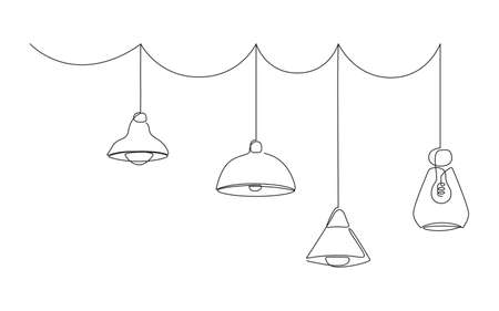 Loft lamps collection and lampshades in one line drawing. Horizotal Vector illustration of Hanging modern chandelier and pendant lamps with Edison bulbs Vecteurs