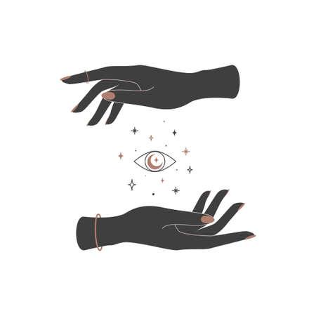 Mystical celestial eye between woman hands. Spiritual elegant symbol for branding name. Esoteric magic Vector illustration Vecteurs