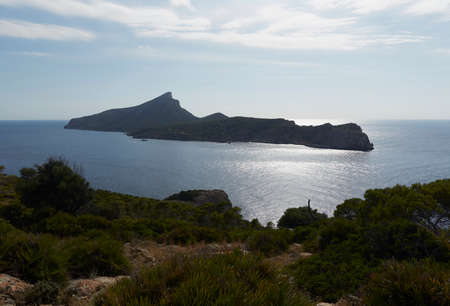 Panoramic Photography of Dragonera, an island located in San Telmo, a small town that is part of the Spanish municipality of Andrach, in Mallorca, Spain
