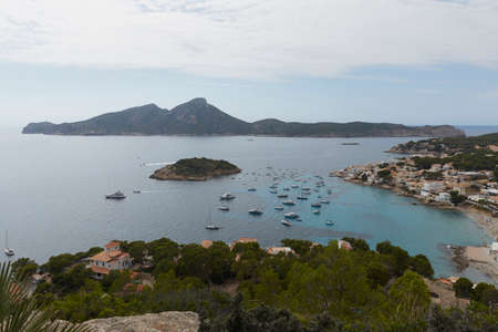 Panoramic of San Telmo, small town that is part of the Spanish municipality of Andrach, on the island of Mallorca, Spain