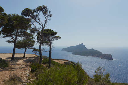 Panoramic of Sa Dragonera taken from La Trapa, an old monastery located in San Telmo, a small town that is part of the Spanish municipality of Andrach, in Mallorca, Spain Banco de Imagens