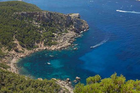 Panoramic of Torre de Cala en Basset and Cala en Basset taken from La Trapa, an old monastery located in San Telmo, a small town that is part of the Spanish municipality of Andrach, in Mallorca, Spain Banco de Imagens
