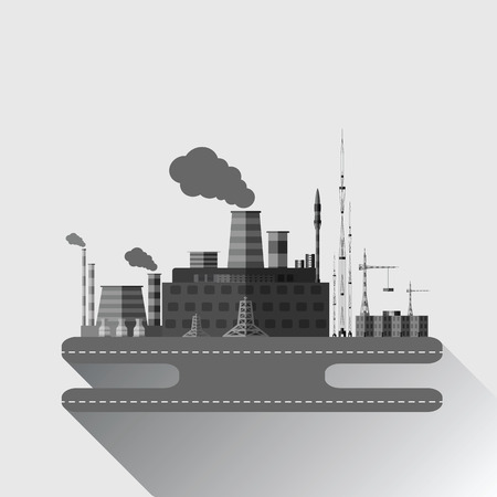 grayscale: Flat grayscale illustration of an industrial factory with long shadow. Illustration