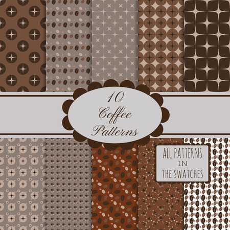 duotone: 10 brown coffee seamless patterns set. All patterns in the swatches panel.