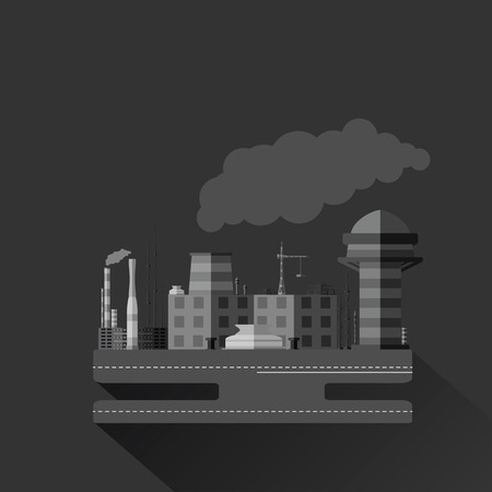 grayscale: Flat grayscale illustration of an industrial factory with a long shadow.