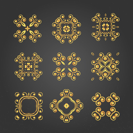 arabic gold: A gold royal patterns set for the card or invitation with Islam Arabic Indian or ottoman motifs.