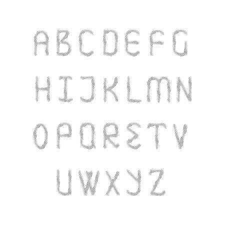 meshy: English alphabet set. Each letter consisting of stripes.