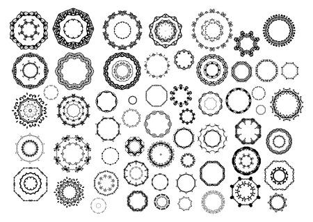 silhouette fleur: Ornementales cadres ronds dessinés à la main pour la page décoration. Illustration