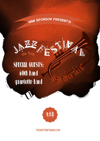 blues music: Vector jazz, rock or blues music poster template.