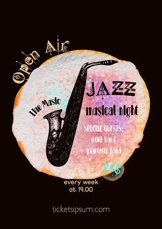 blues: jazz, rock or blues music poster template.