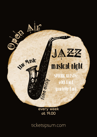 blues music: jazz, rock or blues music poster template.