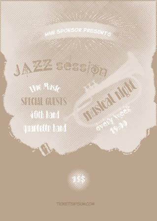 blues music: jazz, rock or blues music poster template. Illustration