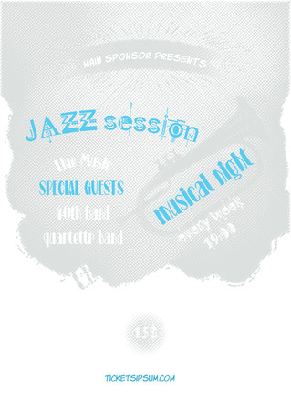 blues music: Vector jazz, rock or blues music poster template. Grid isolated on the background. Abstract background for card, brochure, banner, web design.