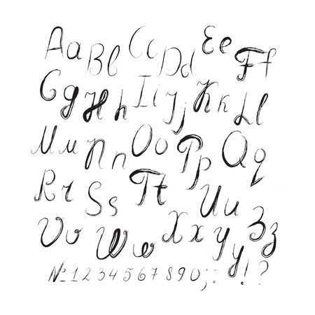 typographer: Hand drawn english letters, numbers in the grunge design style