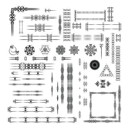 dingbats: Designers toolkit set. Ornamental vintage frames, vignettes, borders, dingbats, arrows for the page decoration.