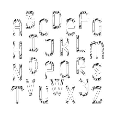 cancellated: English alphabet set.