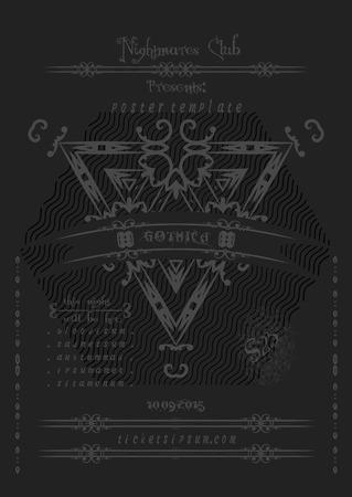 doom: Rock or metal music concert  poster template.