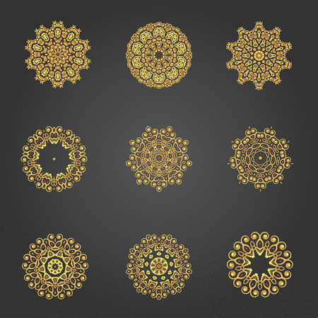 indian tattoo: A gold royal patterns set for the card or invitation