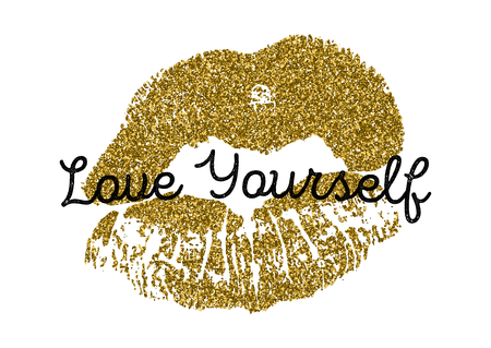 Atr poster vector illustration with gold glitter lips prints isolated on white background. Ilustrace