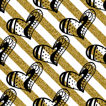 Seamless pattern with the hand drawn ink doodle hearts on the gold glitter stripes background.