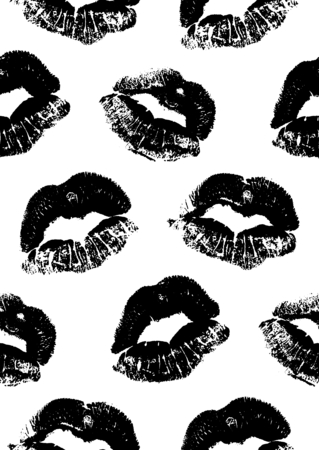 lipstick kiss: Seamless pattern with a lipstick kiss prints for wrapping, wallpaper, textile, invitation, wedding cards. Pattern in the swatches panel. Illustration
