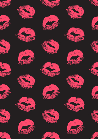 lust: Seamless pattern with a lipstick kiss prints for wrapping, wallpaper, textile, invitation, wedding cards. Pattern in the swatches panel. Illustration