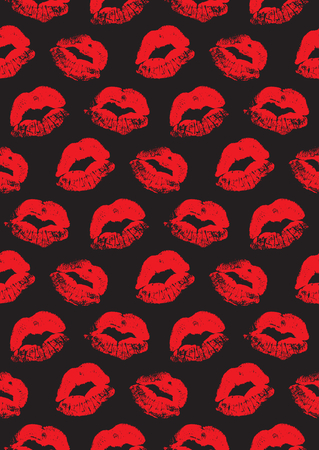 retro seamless pattern: Seamless pattern with a lipstick kiss prints for wrapping, wallpaper, textile, invitation, wedding cards. Pattern in the swatches panel. Illustration