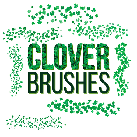 scatter: scatter clover leaves brushes in brushes panel. Ready for design. Illustration