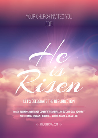 sunday: Easter religious poster template with transparency and gradient mesh. Illustration