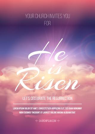 Modello di poster religioso di Pasqua con trasparenza e maglia gradiente.