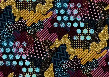 Camouflage modèle sans couture dans les tons de rose, jaune, or scintillant, bleu, noir. Style de Memphis