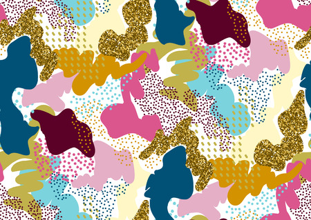 Camouflage seamless pattern in a shades of pink, yellow, gold glitter, blue, red colors