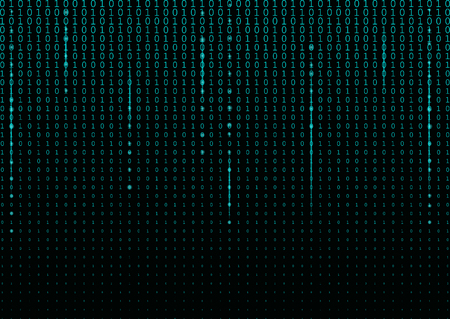 Binary code black and cyan blue background with two binary digits, 0 and 1 isolated on a black background. Halftone vector illustration.