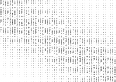 Binary code black and white background with two binary digits, and 1 isolated on a white background. Halftone vector illustration.
