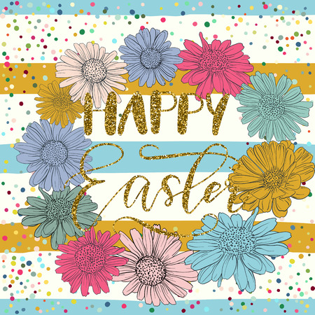 golden daisy: Happy Easter holiday celebration card with hand drawn lettering design with gold glitter texture, flower wreath on striped pattern. Vector illustration.