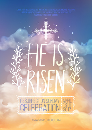 He is risen, vector Easter religious poster template with transparency and gradient mesh. Church invitation flyer, vector illustration.